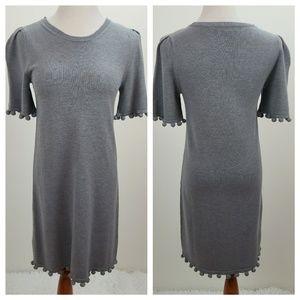 Banana Republic Grey Pom Pom Sweater Dress XS